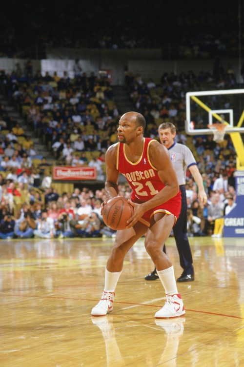 World B. Free of the Houston Rockets looks to shoot during a game.