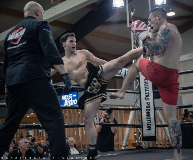 Christian Schleicher von der Sportschule Alex, kämpft Kickboxen K1 bei der Phönix Fight Night 2017, Gala WKU
