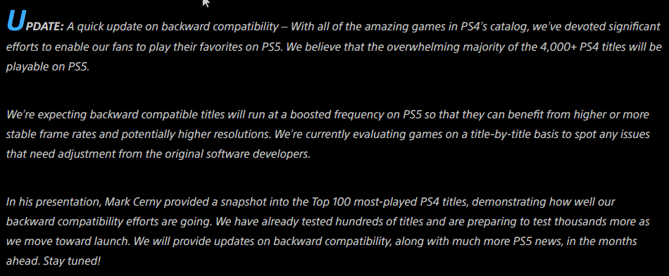 PS5 Compatibility PlayStation 5