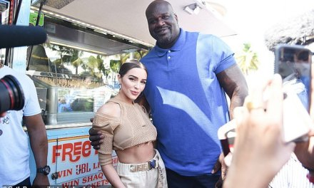 Olivia Culpo Helps Shaq Promote His Party By Serving Some Ice Cream