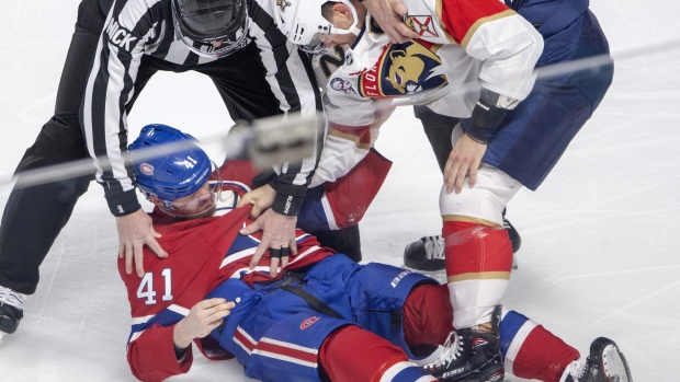 Canadiens Forward Paul Byron Needed Help to the Locker Room after Eating an Uppercut