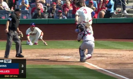 Bryce Harper Tried to Hurdle the Catcher After Tagging Up On a Shallow Fly Ball