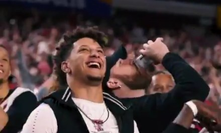 Travis Kelce Made the Most of Patrick Mahomes' Camera Time at the National Championship Game by Chugging a Beer