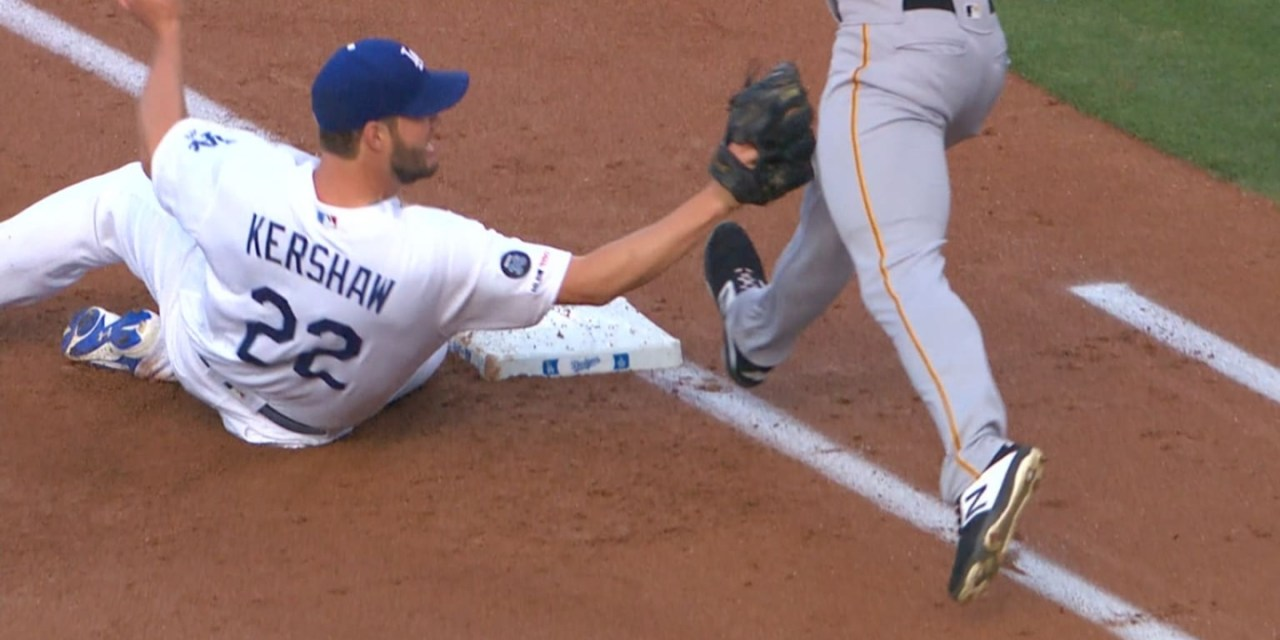 Clayton Kershaw Slide Tackled a Pirates Runner at First Base