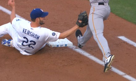 Clayton Kershaw Slide Tackled a Pirates Runner at First Base