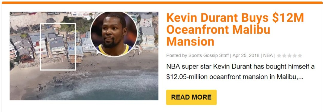 Kevin Durant Selling Oceanfront Malibu House For 13 495 Million