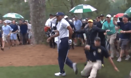 Overexcited Security Guard Slips and Slides Into Tiger Woods on the 14th Hole at The Masters