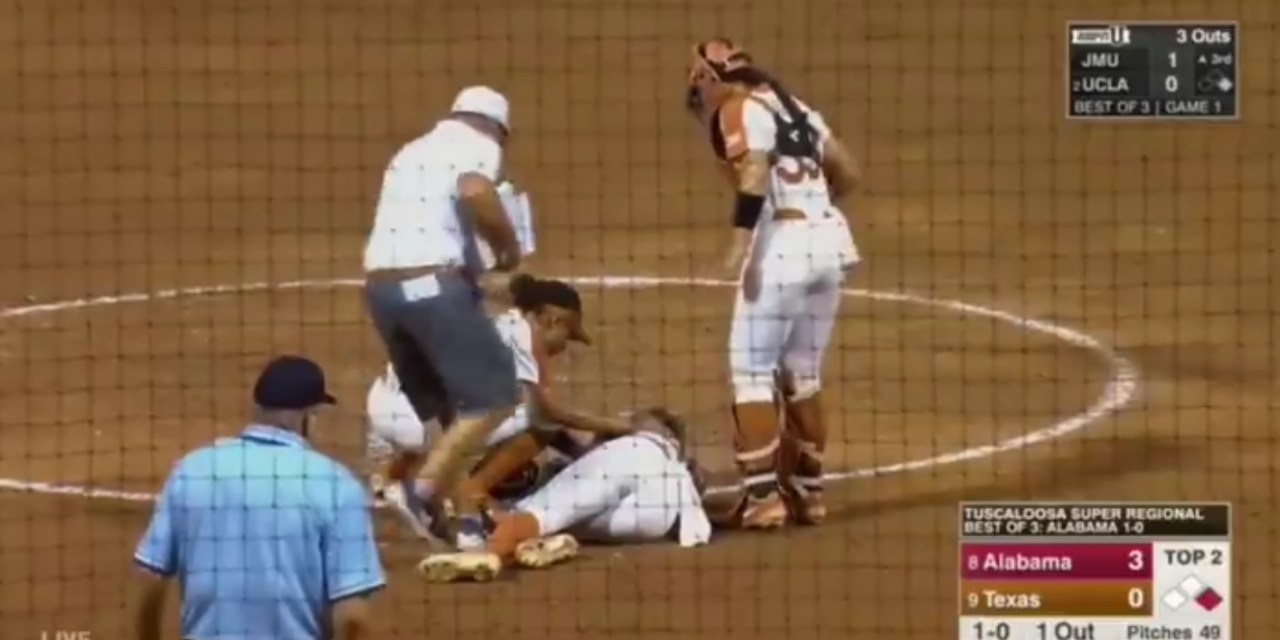 Texas Softball Coach Shares a Picture of Miranda Elish after Taking a Ball to the Face