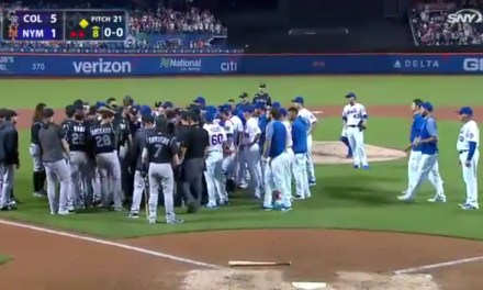 Benches Clear in New York after Mets Reliever Hits Ian Desmond With a Pitch