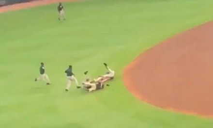 Security Guards Take Down Braves Fan Running For Home Plate