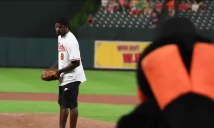 Ravens QB Lamar Jackson Threw Out the First Pitch at an Orioles Game
