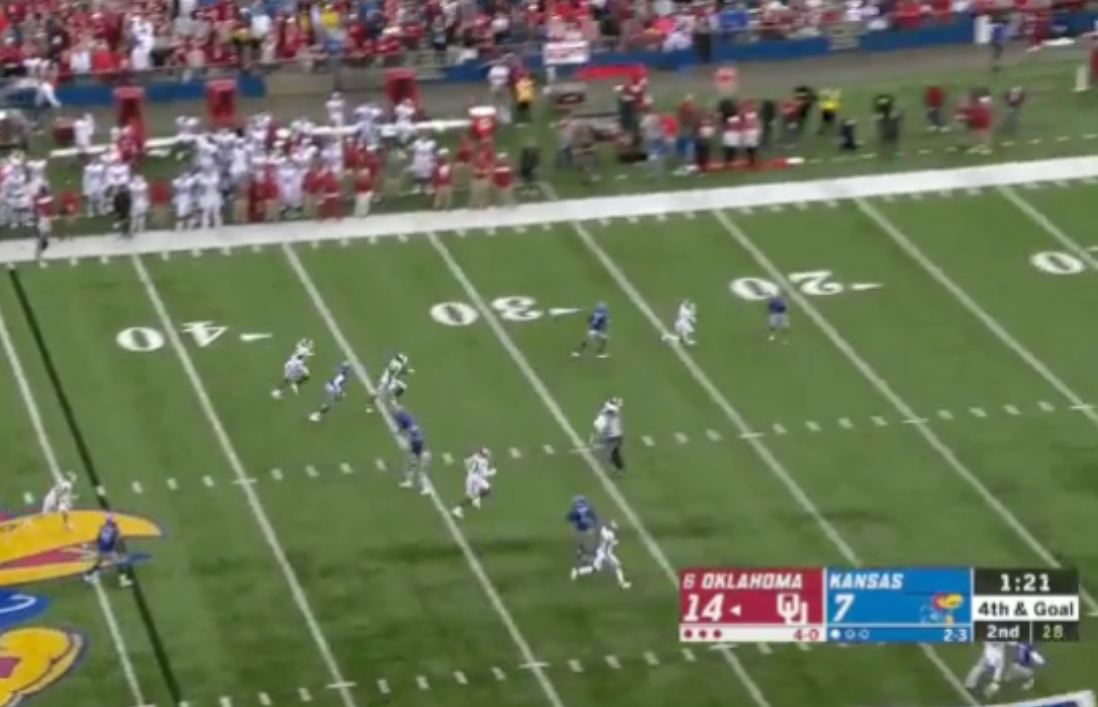 Oklahoma Forced to Punt on 4th and Goal