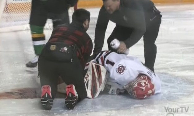 OHL Game Was Canceled After a Goalie Suffered a Serious Leg Injury