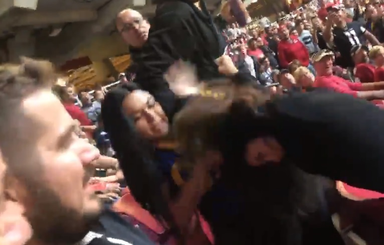 Women MMA Fighting in Stands at Rams-Cardinals Game