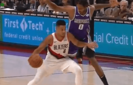 CJ McCollum Called for an Offensive Foul After Elbowing Trevor Ariza in the Groin