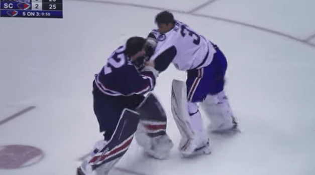 A Goalie Fight Went Down Over the Weekend