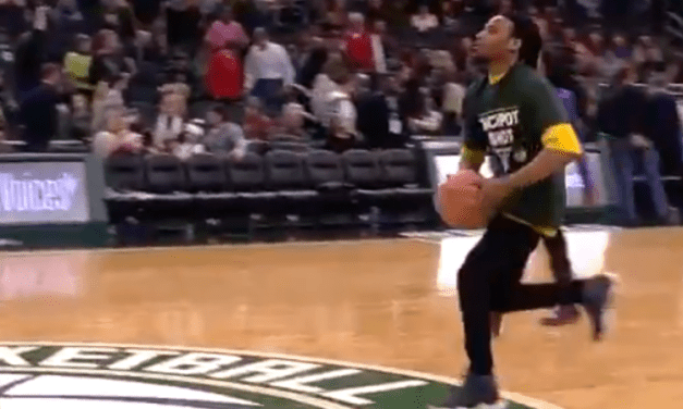 Bucks Fan Celebrated $5,000 Half Court Shot with a Eurostep
