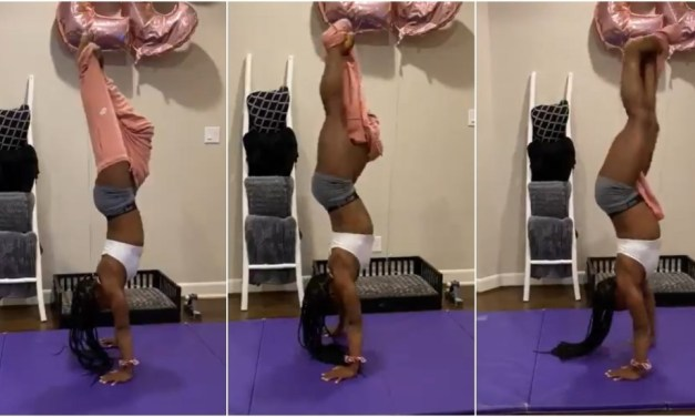 Simone Biles Takes Off Sweatpants Upside Down in Gravity-Defying Handstand Challenge