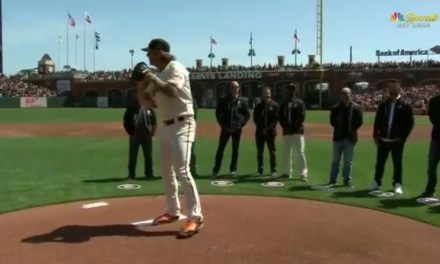 Former MLB Pitcher Brian Wilson Threw Out the First Pitch at the Giants Home Opener