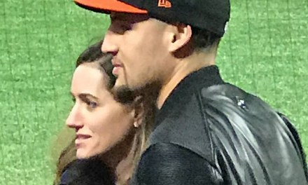 Klay Thompson Takes in a Giants Game while Waiting for Game 3