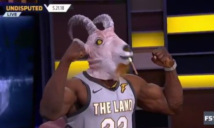 Shannon Sharpe Wears LeBron Jersey and GOAT Mask on Undisputed