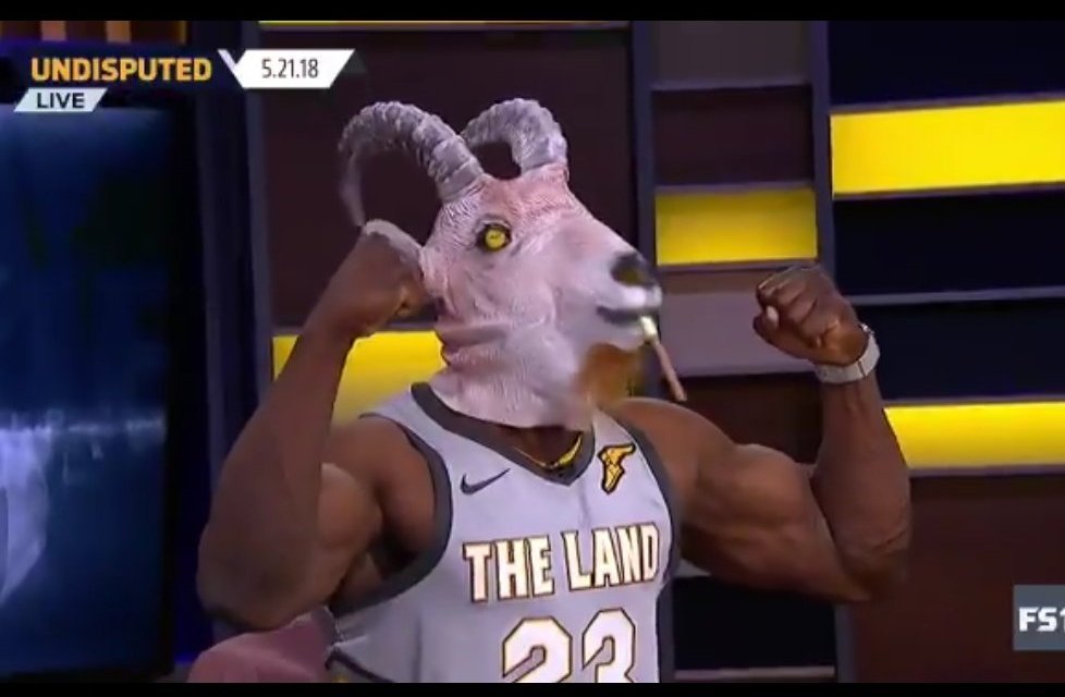 newest 313d0 98fb5 Shannon Sharpe Wears LeBron Jersey and GOAT Mask on ...