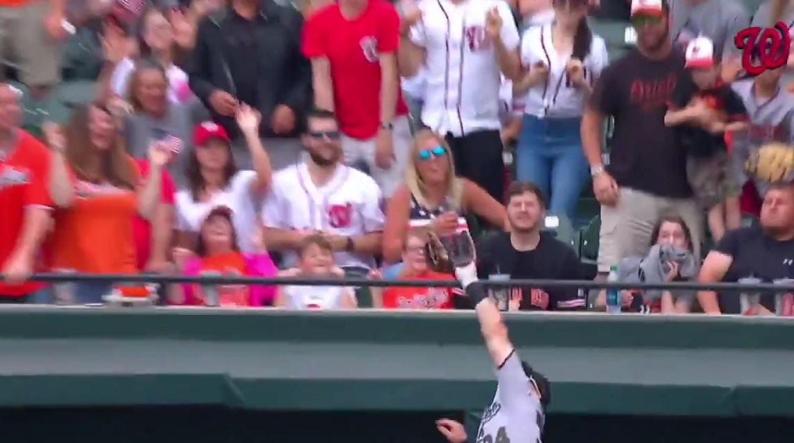 Bryce Harper Robbed a Homerun then Tossed the Ball to a Fan in the Upper Deck