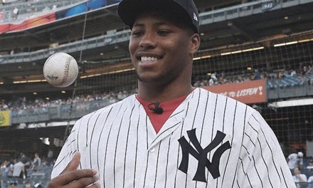 Saquon Barkley and His Massive Quads Threw Out the First Pitch at a Yankees Game