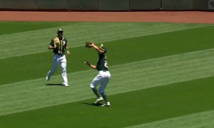 Stephen Piscotty Took a Fly Ball Off of His Head