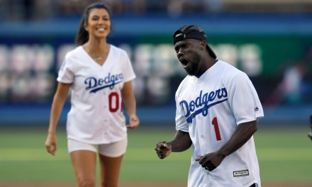 Kevin Hart and Kourtney Kardashian Throw Out First pitch