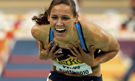 Lolo Jones Attempts To Jump Into Her Own Pants