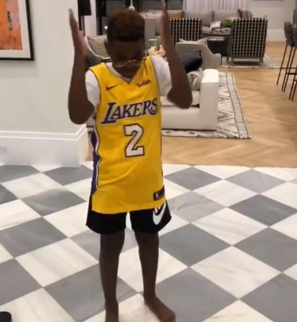 check out 22450 8db90 LeBron James' Son Bryce Wearing a Lonzo Ball Jersey ...