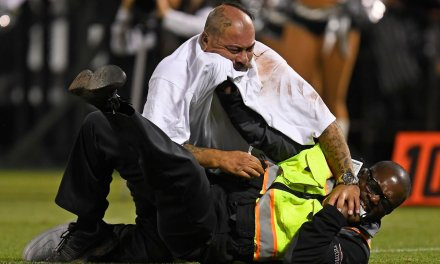 Raiders Fan Ran onto the Field and Wrestled With Security