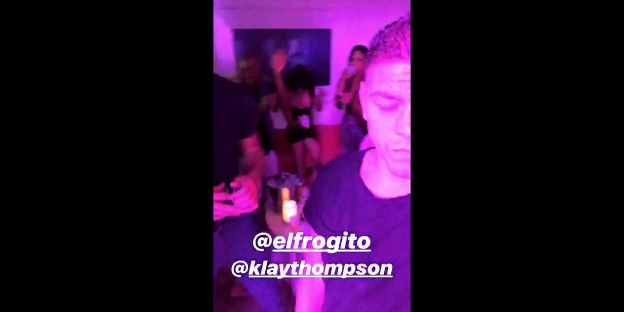 d94af7a6edee Klay Thompson Partying at Drais Beachclub Nightclub - Sports Gossip