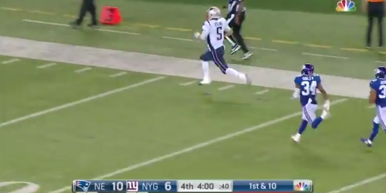 Patriots Rookie QB Danny Etling Took a Bootleg 86 Yards for a Touchdown