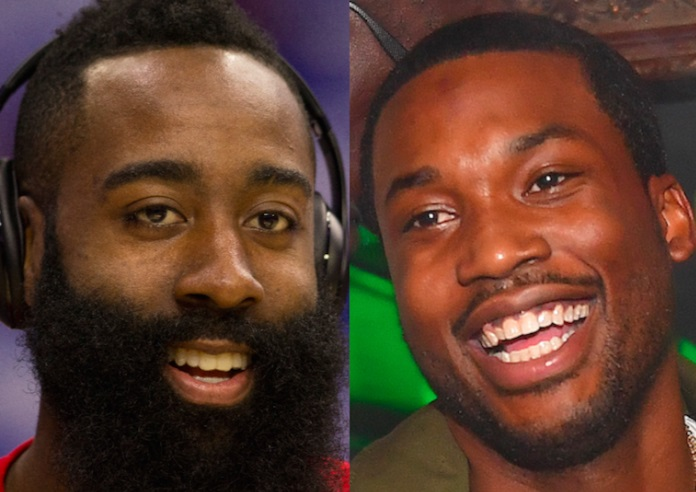 James Harden and Meek Mill Courtside Seats for Calvin Klein Show