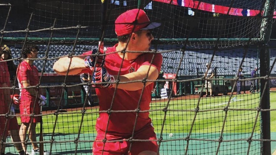 Nick Jonas took Batting Practice with the Angels on Saturday