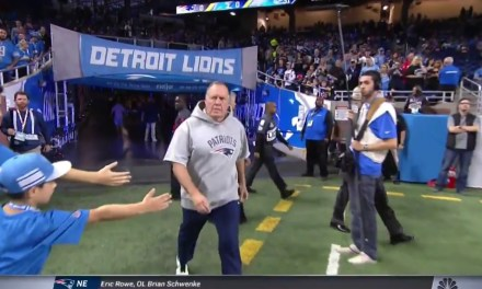 Bill Belichick Walking By a Couple of Kids in Lions Jerseys Trying to Get High Fives is the Best Play of the Weekend