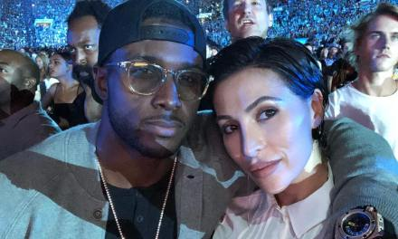 Reggie Bush and Wife Lilit at the Rose Bowl for Jay Z Show