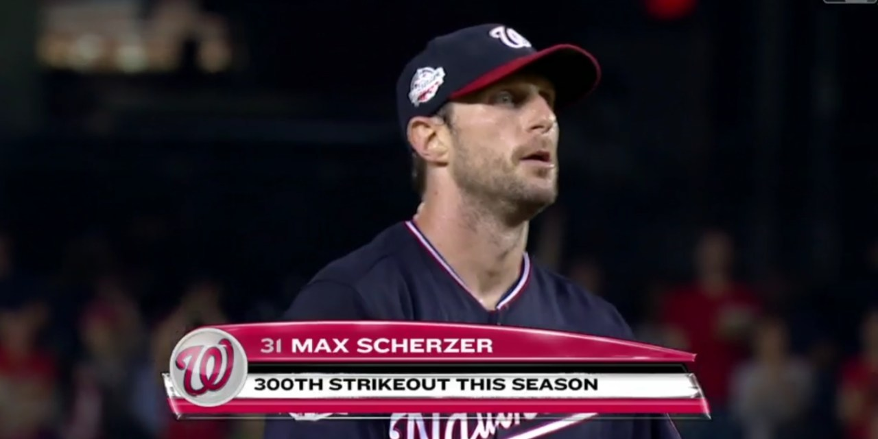 Nationals Pitcher Max Scherzer Strikes Out his 300th Hitter of the Season