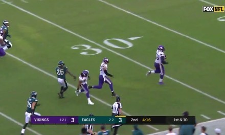 Vikings DT Linval Joseph Scored a 63-Yard Touchdown when Carson Wentz was Sacked and Lost the Ball