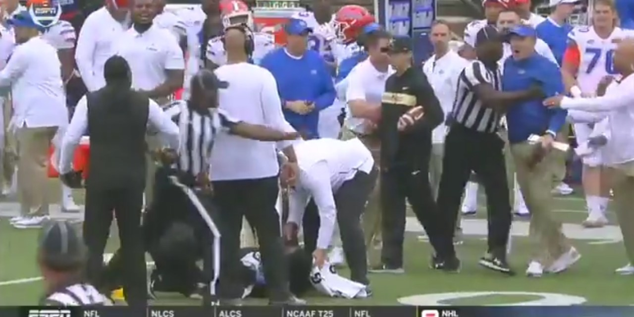 Benches Clear as Florida and Vanderbilt Head Coaches Exchange Words after a Targeting Flag