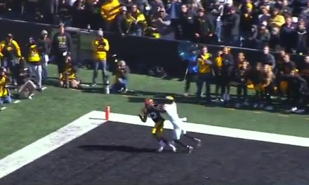 Iowa's Brandon Smith Made a One-Handed Touchdown Catch with a Defender All Over Him