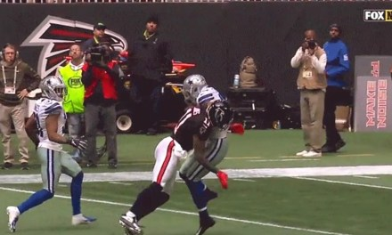 Receiver Julio Jones Laid Out Safety Jeff Heath to Breakup an Interception