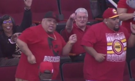 A couple of large and in charge Rockets fans took over the Dance Cam in Houston