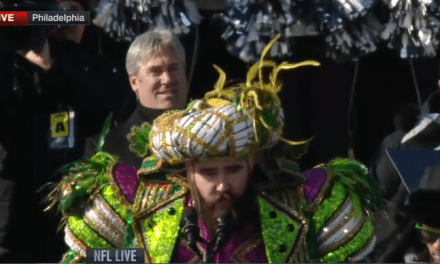 Jason Kelce's Super Bowl Parade Speech Was So Epic, A Fan Had His Mummers Look Tattooed On His Body