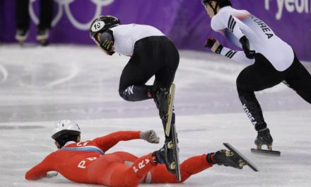 North Korean Speed Skater Trips Opponent After Falling