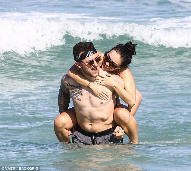 Johnny Manziel Hits the Beach with Fiance Bre Tiesi