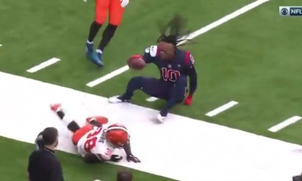 DeAndre Hopkins Loses His Helme Making a Ridiculous Catch Along the Sideline