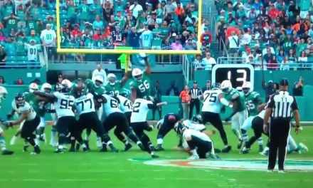 Jaguars Kicker Kai Forbath Missed a Field Goal after Kicking the Ball Off of His Lineman's Butt